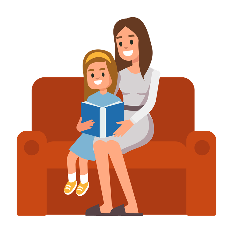 illustration of girl reading a book with adult
